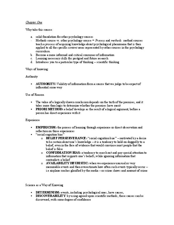 PSYC 2030 Chapter Notes - Chapter 1: Psychological Science, Public  Knowledge, Social Cognition