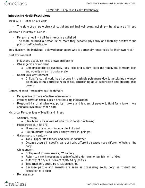 PSYC 3110 Midterm: Midterm Notes