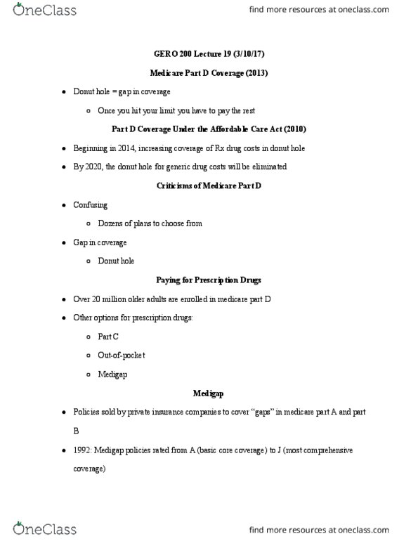 GERO 200 Lecture Notes - Lecture 19: Medicare Part D, Doughnut, Patient  Protection And Affordable Care Act
