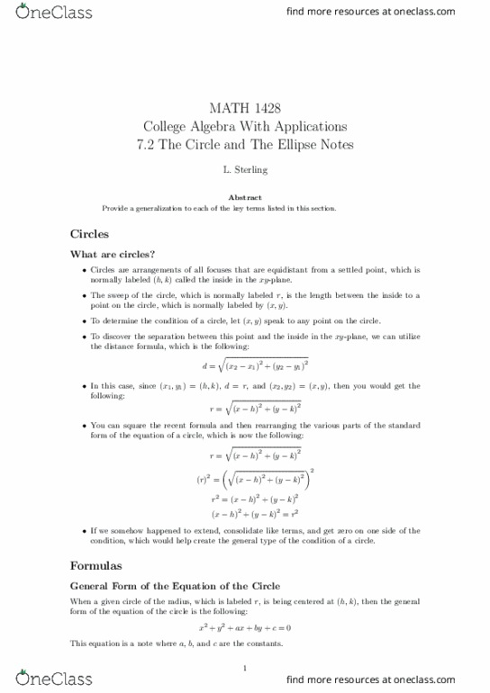 MATH-1428 Lecture Notes - Lecture 15: Algebraic Expression