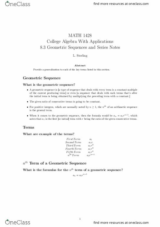 MATH-1428 Lecture Notes - Lecture 39: Geometric Progression, Arithmetic  Progression