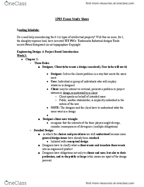 Engineer 1p03 Study Guide Summer 2016 Final Design Issues Integrated Circuit