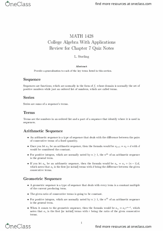 All Educational Materials for MATH-1428 at College of DuPage