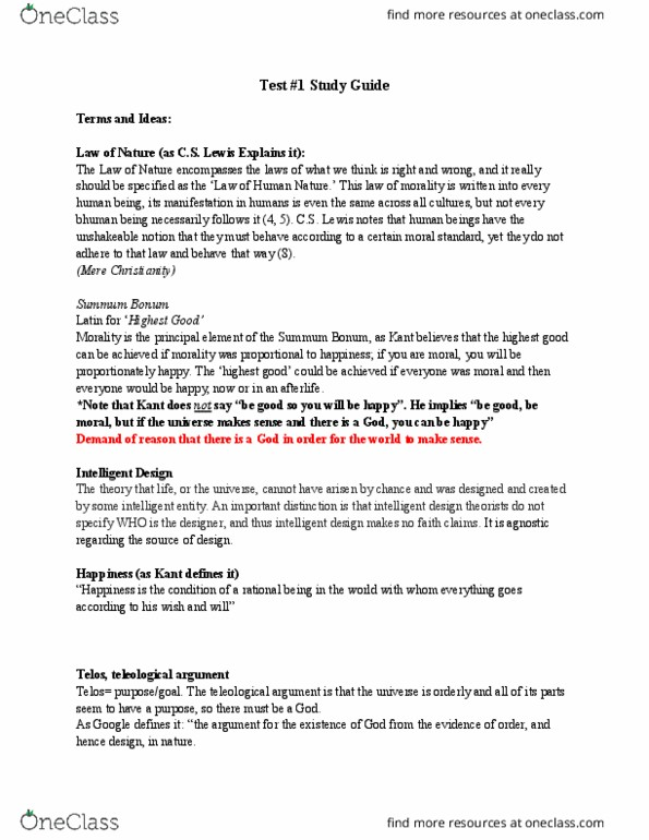 THEO-001 Study Guide - Spring 2017, Midterm - Intelligent