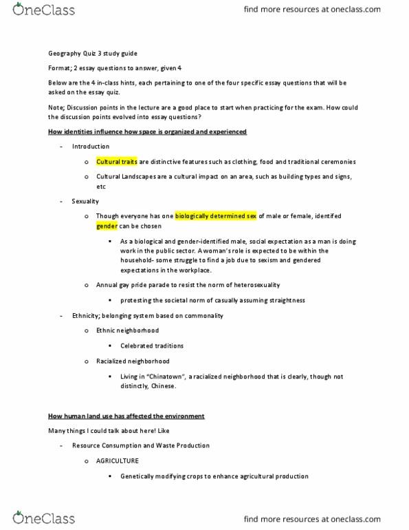 GEOG101 Study Guide - Winter 2017, Midterm - Lowkey