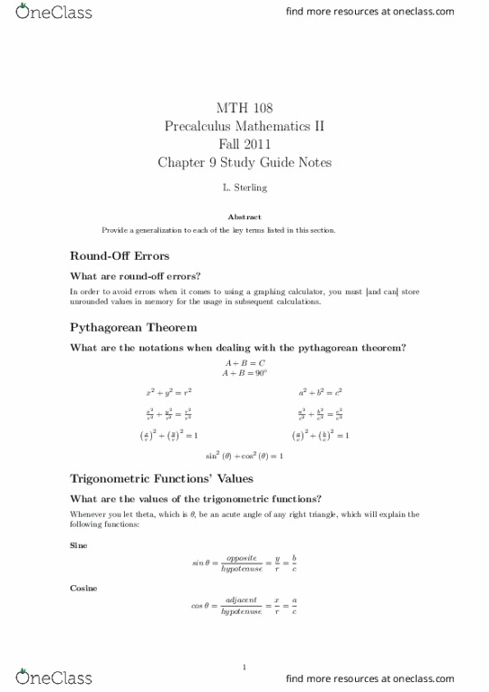 MTH 108 Study Guide - Quiz Guide: Pythagorean Theorem, Hypotenuse,  Trigonometric Functions