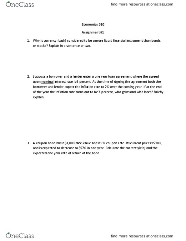 ECON 310 Study Guide - Spring 2017, Midterm - Nominal