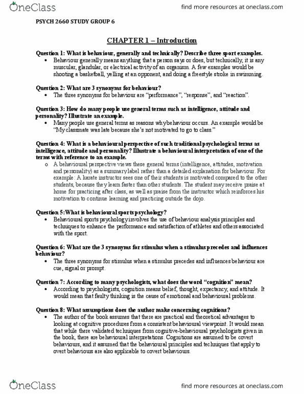 PSYC 2660 Study Guide - Winter 2017, Final