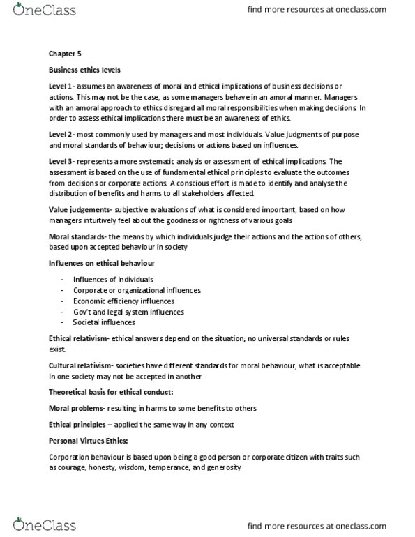 MNGT 3710 Lecture Notes Lecture 5 Feminist Ethics Cultural Relativism Discourse Ethics
