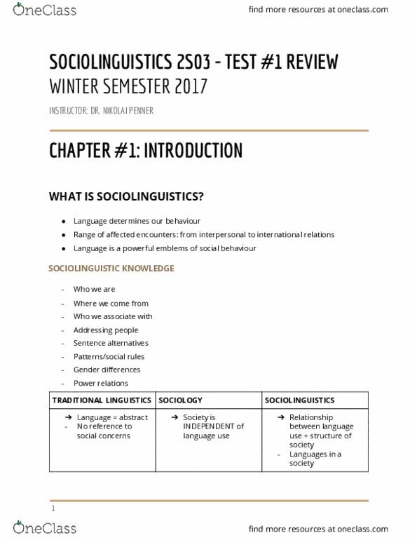 LINGUIST 2S03 Study Guide - Winter 2017, Midterm - Glasgow