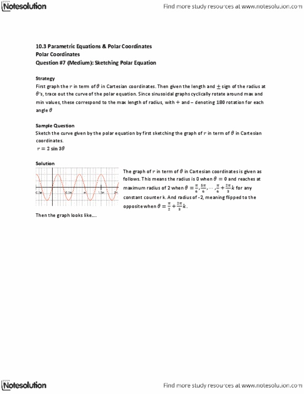 MAT136H1 Lecture Notes - Polar Coordinate System, Cartesian Coordinate  System, Strategy First