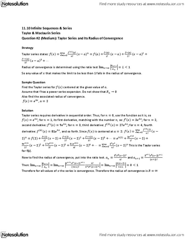 MAT136H1 Lecture Notes - Winter 2013, - Ratio Test