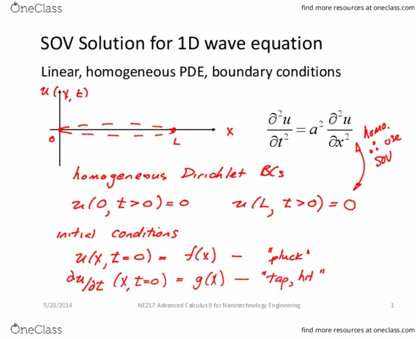 NE 217 Lecture 10: Lecture 10 - Wave equation SOV Solution - OneClass