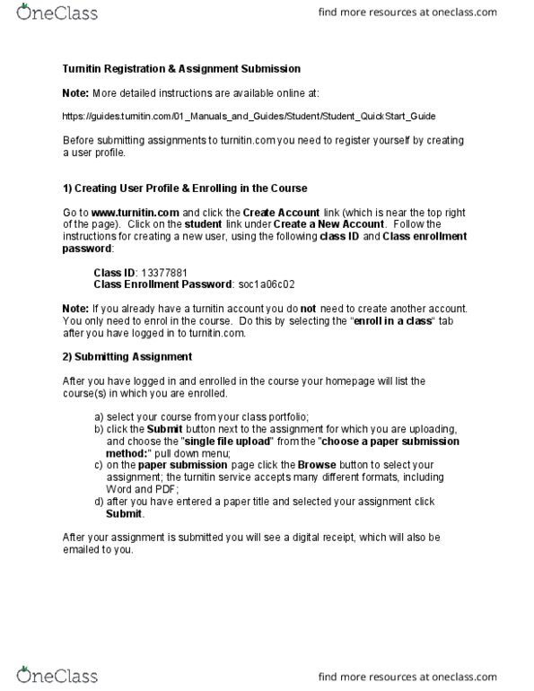 LABRST 1C03 Lecture Notes - Lecture 2: Turnitin