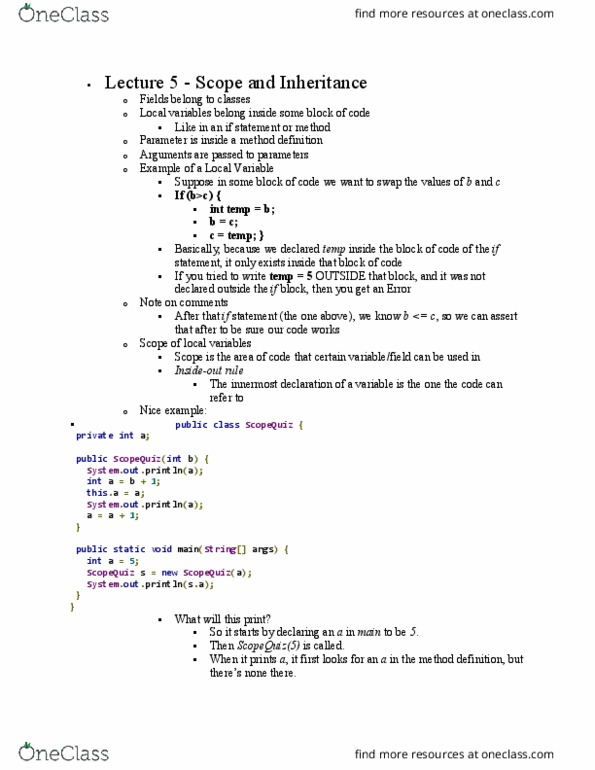Class Notes for CS 2110 at Cornell University - OneClass
