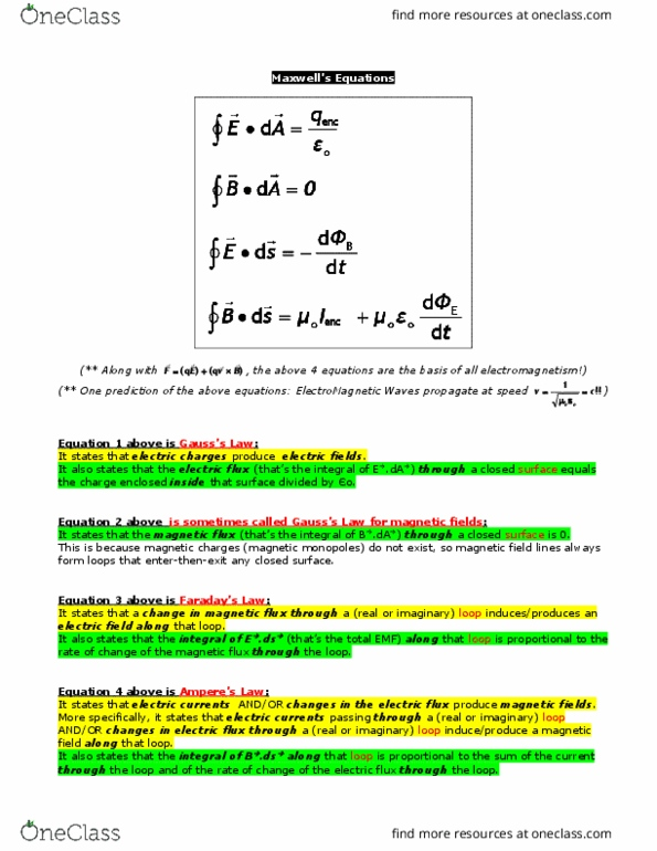 PHYS 284 Study Guide - Winter 2016, Final - Electric Flux