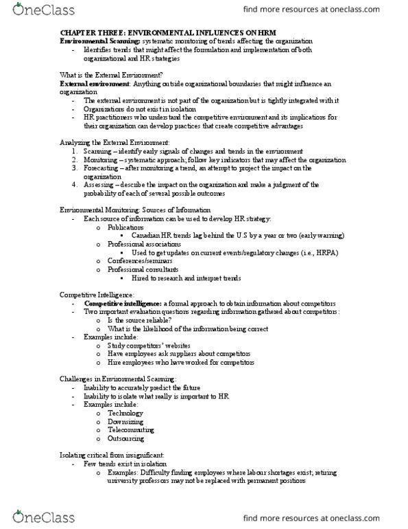 HRM 3430 Lecture Notes - , Lecture 1 - Competitive