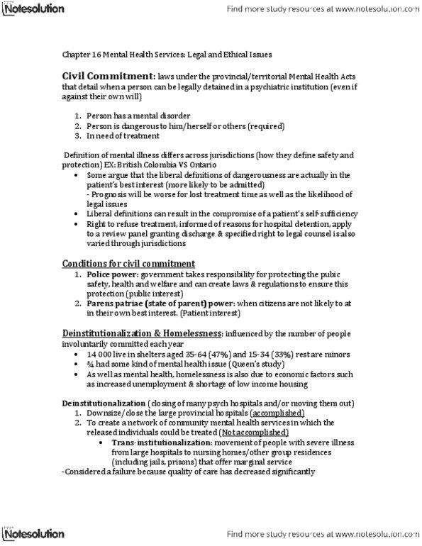 PSYC 235 Study Guide - Community Mental Health Service, American Law  Institute, Parens Patriae