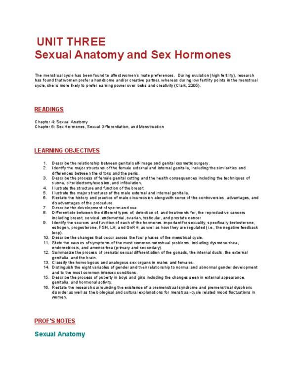 Psychology 2075 Chapter 3: Human Sexuality - Unit Three