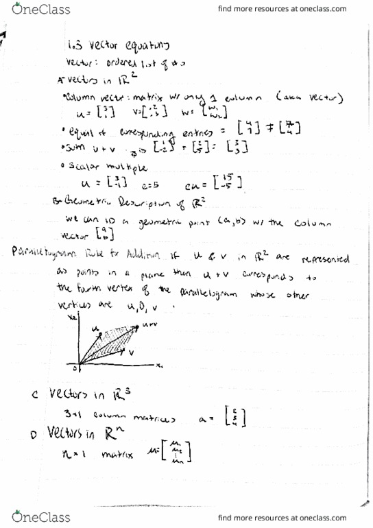 Textbook Notes for MATH 54 at University of California