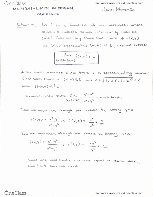 Textbook Notes for MATH 241 at University of Illinois (UI