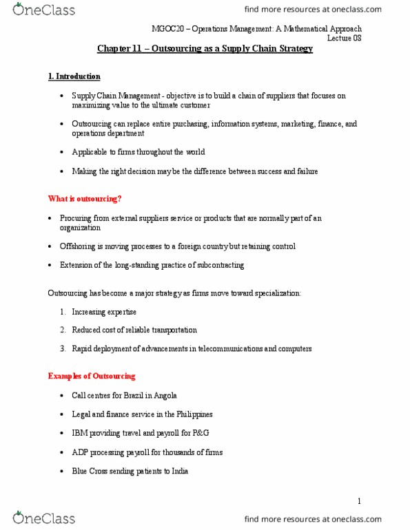 MGOC20H3 Lecture Notes - Lecture 8: Service Management, Strategic Planning,  Operations Management