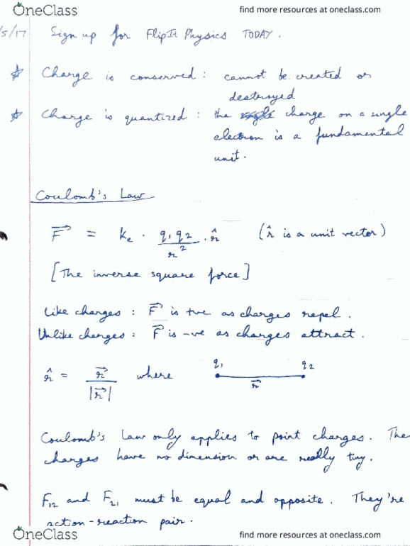 CAS PY 212 Lecture 1: Coulomb's Law and Electric Field