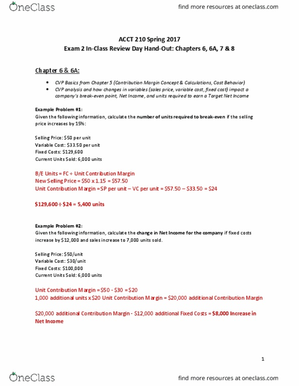 ACCT 210 Study Guide - Fall 2016, Midterm - Contribution Margin