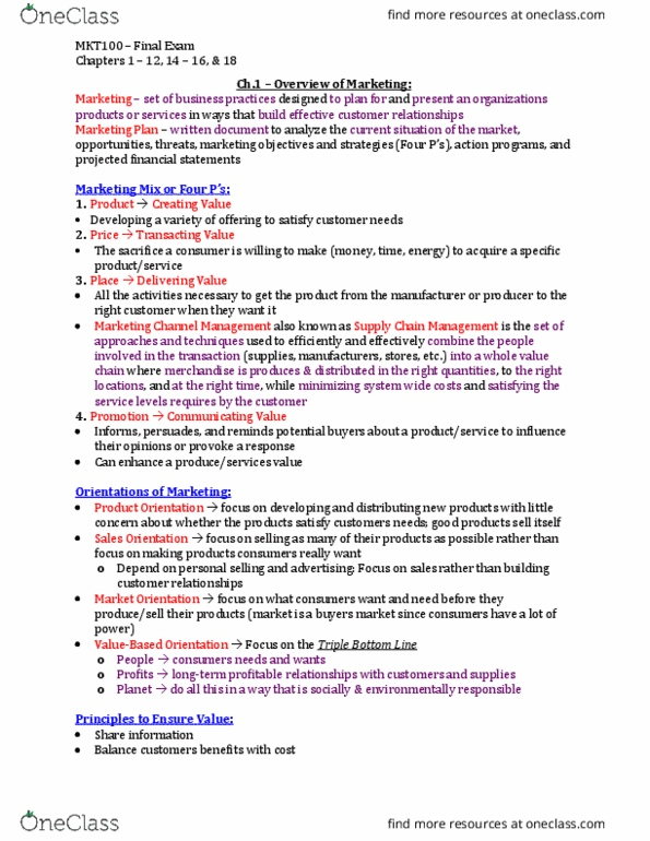 MKT 100 Study Guide - Midterm Guide: North American Industry Classification  System, Ipsos, Financial Risk