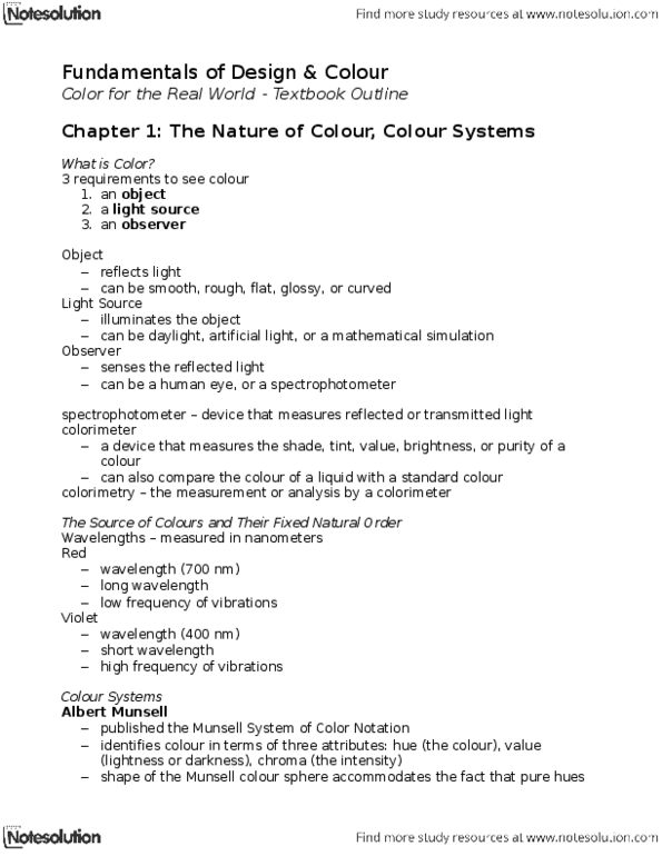 FSN 221 Textbook Notes - Winter 2013, - Munsell Color System