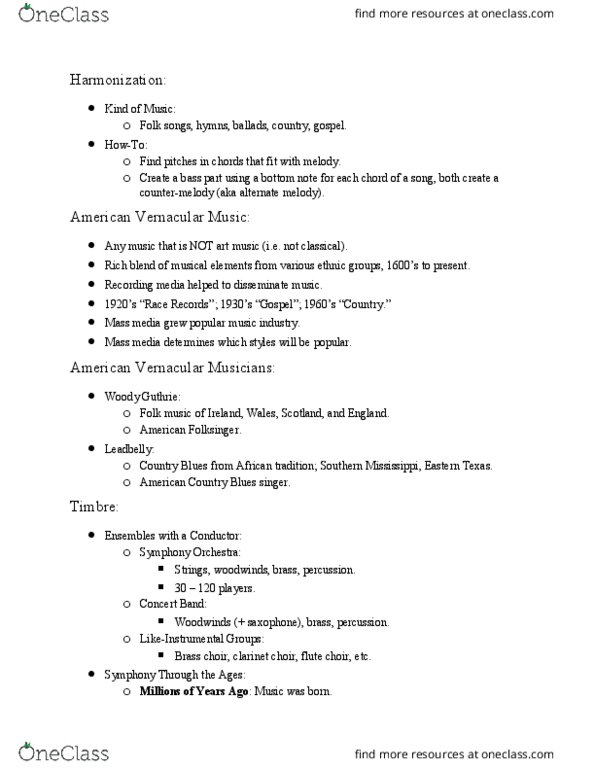 MUSIC 102 Lecture Notes - Lecture 22: Figured Bass, Woody Guthrie, Folk  Music