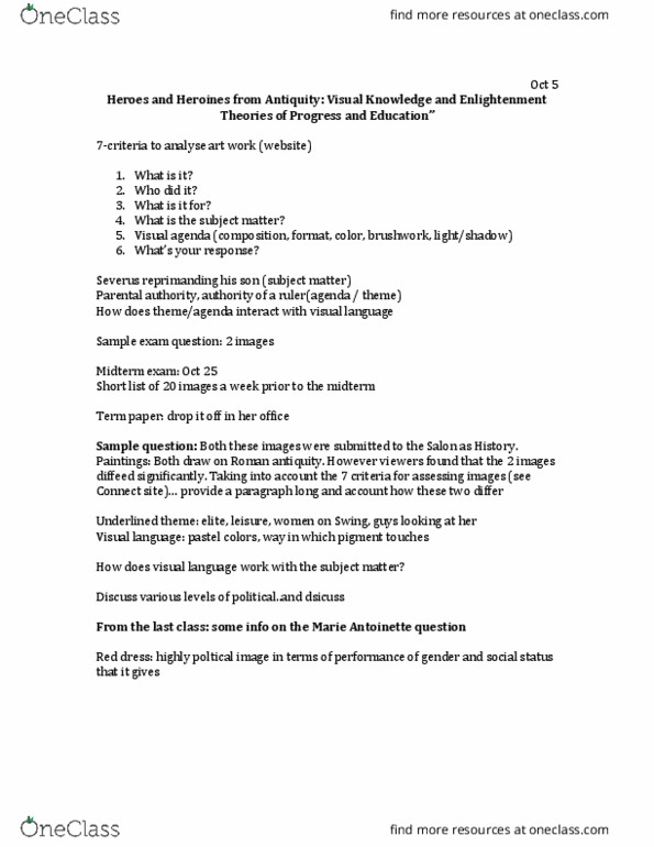 Class Notes for Art History and Visual Culture at University of