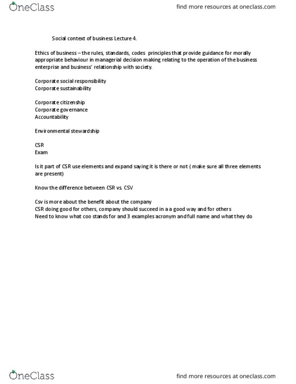 GGRA02H3 Lecture Notes - , Lecture 4 - Corporate Social