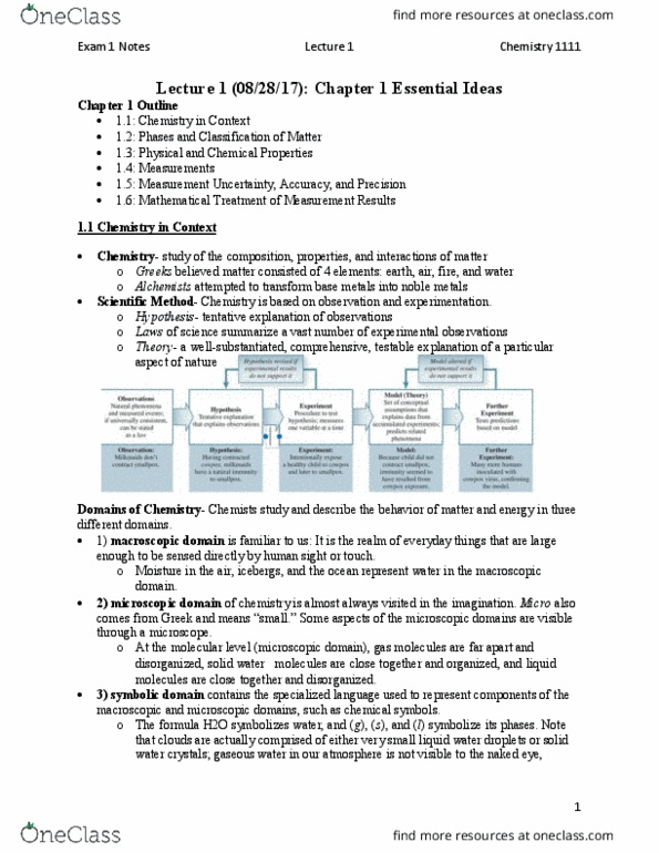 CHEM 1111- Midterm Exam Guide - Comprehensive Notes for the exam ( 82 pages  long!)