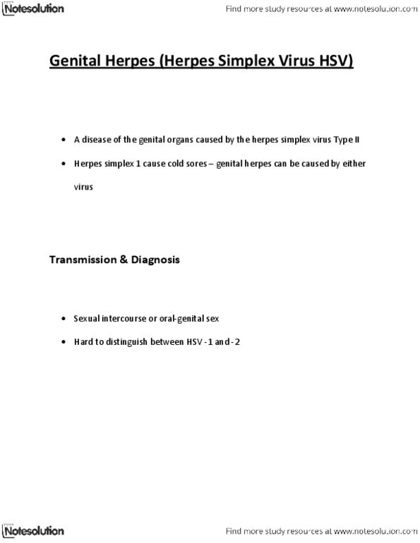 HSCI 1120 Lecture Notes - Winter 2013, - Herpes Simplex