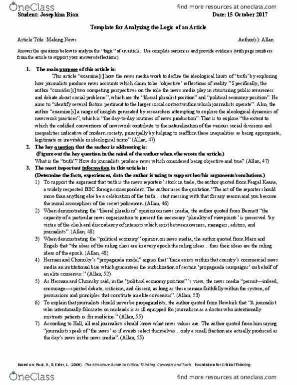 Textbook Notes for Daniel Ahadi - OneClass