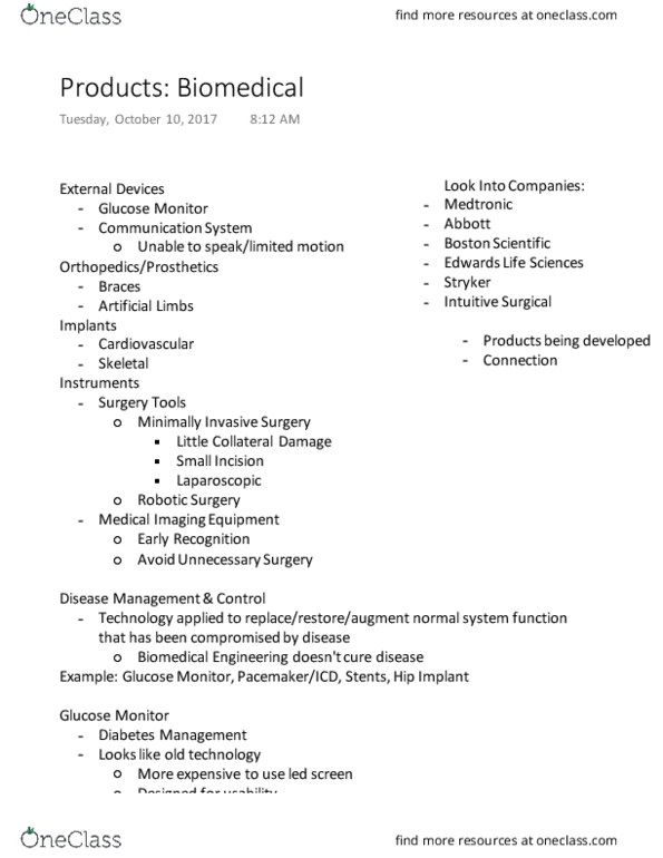 BMED 101- Final Exam Guide - Comprehensive Notes for the exam ( 33 pages  long!)