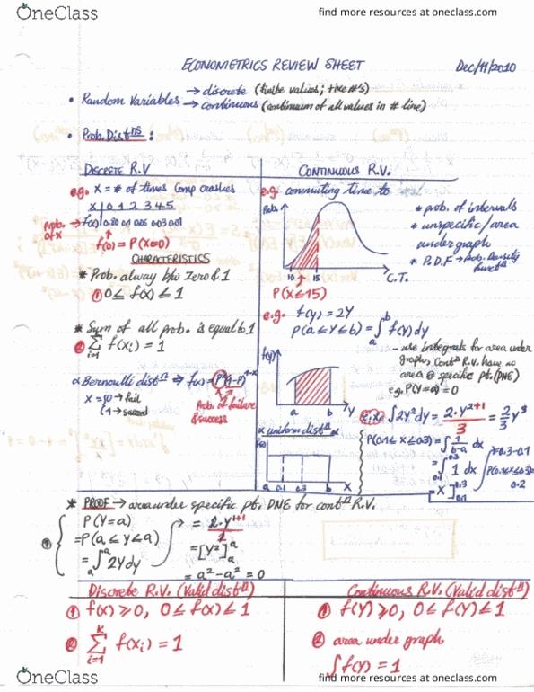 BUSI 4706 Final: Econometrics I - Final Exam Review Sheet