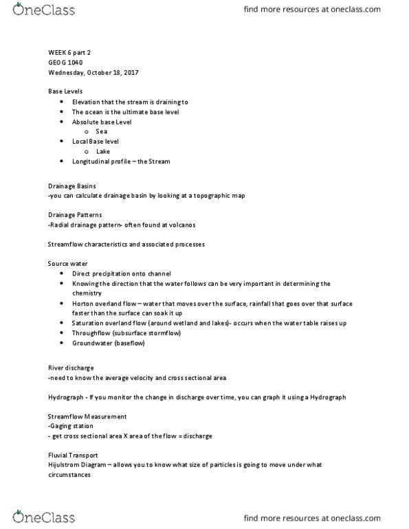 Class Notes for Geography at Trent University (TRENTU) - OneClass