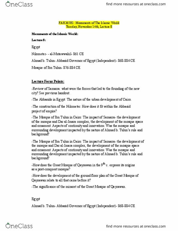 FAH262H1 Lecture Notes - Lecture 8: Nilometer, Muawiyah I, Minaret