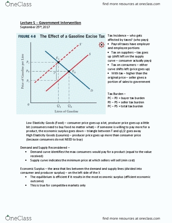 EC120 Textbook Notes - Fall 2017, Chapter 5 - Economic