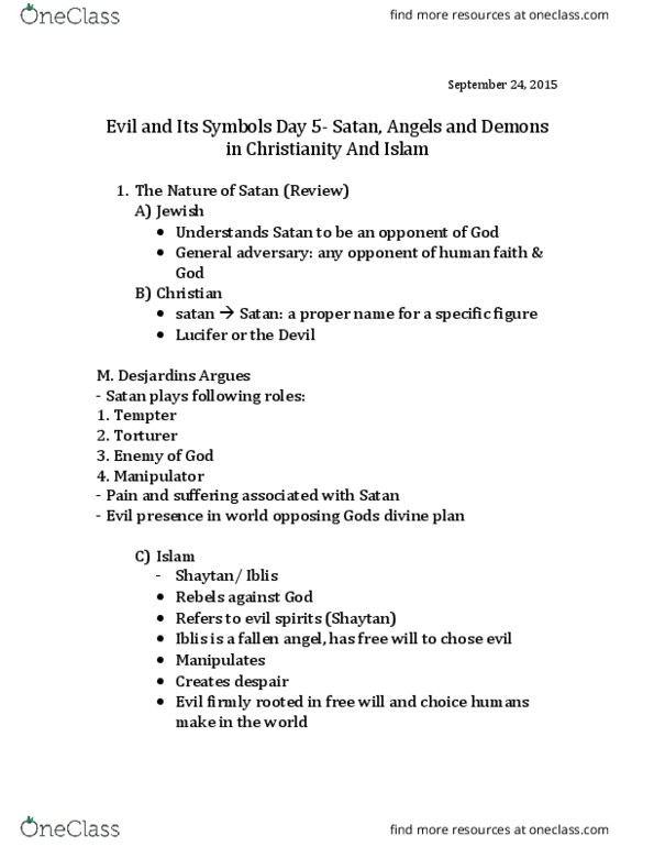 RE104 Lecture Notes - Lecture 5: Fallen Angel, Devil (Islam), Satan