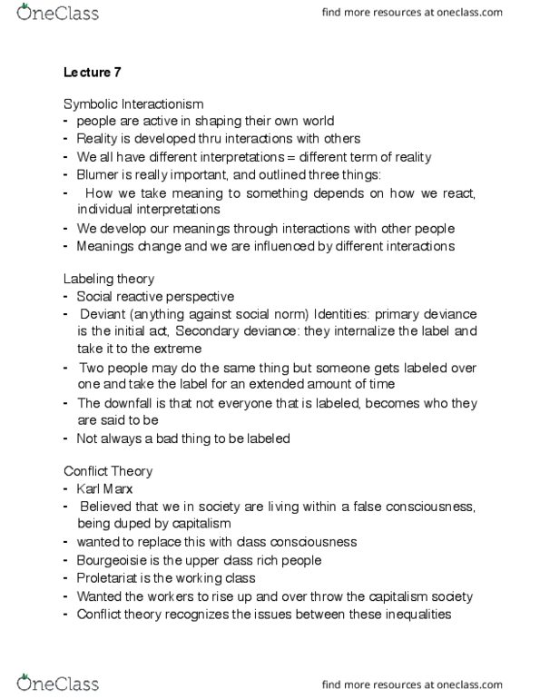 SOC 1500 Lecture Notes - Lecture 7: Labeling Theory, Symbolic  Interactionism, False Consciousness