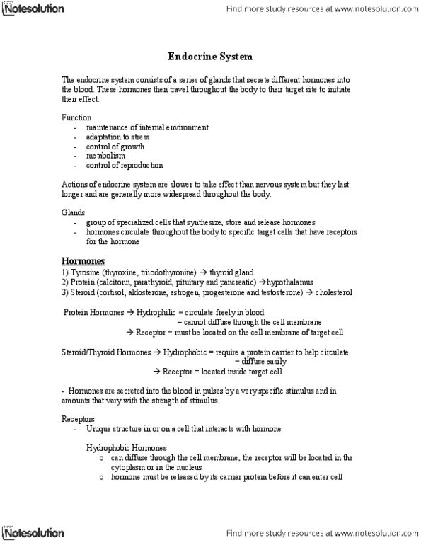 Physiology 2130 Lecture Notes Summer 2013 Thyrotropin Releasing Hormone Anterior Pituitary Thyroid