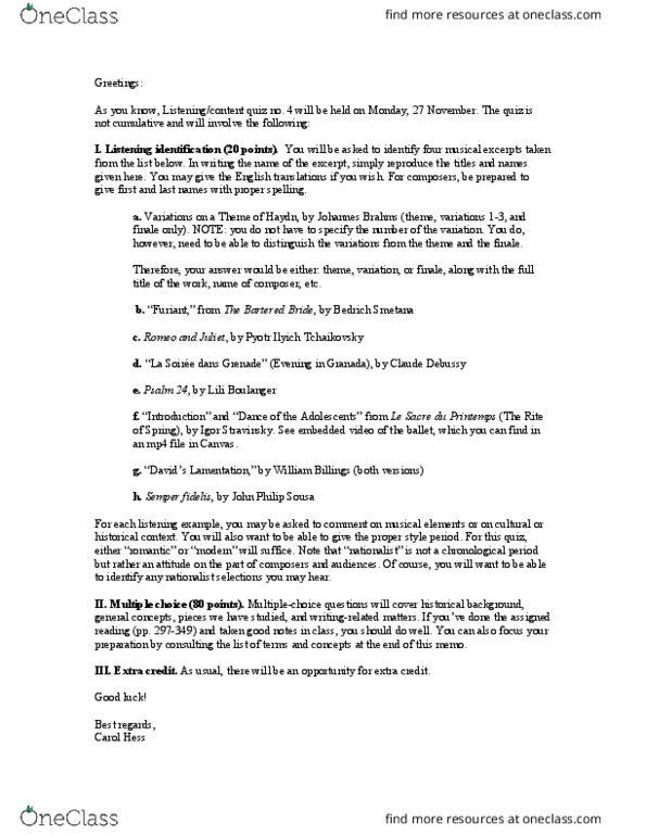 MUS 10 Study Guide - Final Guide: Autodidacticism, Oratorio, Melisma