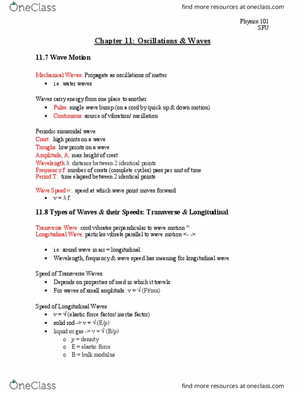 PHYS 101 Textbook Notes - Fall 2017, Chapter Chapter 11