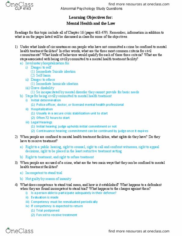 Clp 4143 Study Guide Fall 2017 Quiz Mental Health