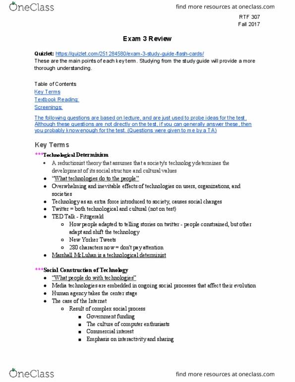 RTF 307 Study Guide - Midterm Guide: Hypodermic Needle Model, Frankfurt  School, Harold Lasswell