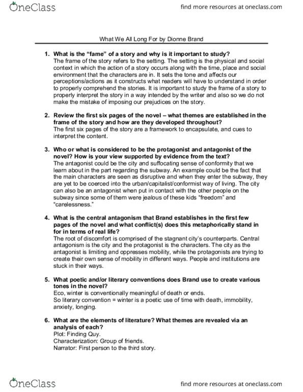 ACS 103 Study Guide - Final Guide: Dionne Brand, Oilskin, Jazz Fusion