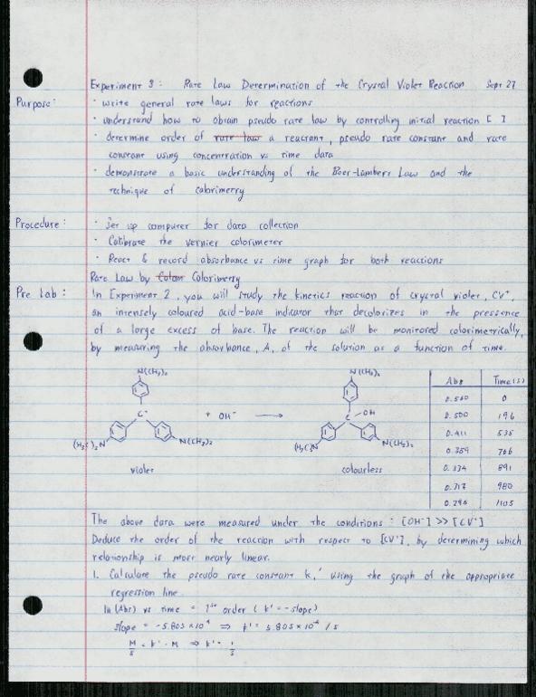 Class Notes for CHEM 126 at Simon Fraser University (SFU